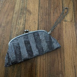 The Limited Pewter Silver Metallic Beaded Wristlet